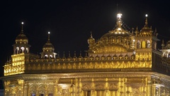 Golden Temple, Harmandir Sahib, roof, night time, Amritsar, India Stock Footage