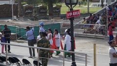VIP area sign, people take photos, Wagah border crossing, Pakistan, India Stock Footage