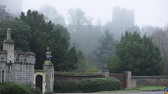 Windsor Castle submerged in a thick white fog Stock Footage