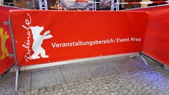 Event area barricade, Berlinale film festival red carpet, Berlin, Germany Stock Footage