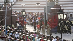 Indian and Pakistani soldiers perform march, Wagah border ceremony gate Stock Footage