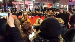Jacqueline Emerson gives autographs, Berlinale film festival red carpet Stock Footage