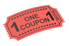 One coupon, ticket. 3D rendering Stock Illustration