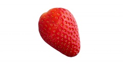 Close up Fresh Red Strawberry Fruit Isolated Stock Footage