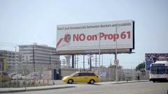 No on Prop 61 billboard ad opposing controversial healthcare proposition LA Stock Footage