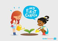 My first garden concept. Cute kids care for plants in the backyard. Stock Illustration