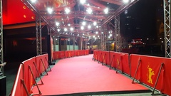 Empty red carpet at Zoo Palast cinema theater, Berlinale film festival, Berlin Stock Footage