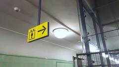 Sign leading to elevator, underground subway station Stock Footage