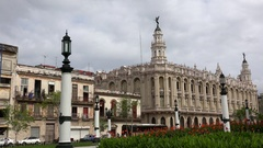 Great Theatre of Havana through the the National Capitol Building garden. Stock Footage