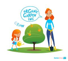 Planting tree with kids. Eco concept. Girl watering plants in the garden. Stock Illustration