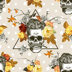 Seamless pattern with the skulls and autumn flowers Stock Illustration