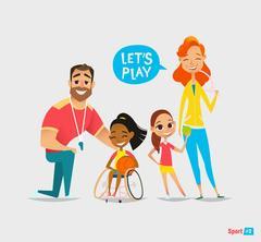 Handicapped kids. Coaching young sportsmen's. Medical rehabilitation. Stock Illustration