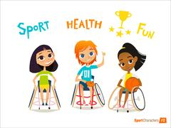 Handisport. Handicapped Kids Character. Coaching handicapped young sportsmen's. Stock Illustration