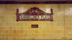 Fehrbelliner Platz u-bahn underground subway station sign, Berlin, Germany Stock Footage