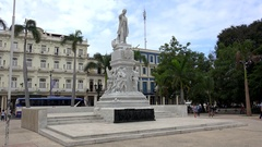 Monument of Jose Marti at the Havana central park (Parque Central). Cuba Stock Footage
