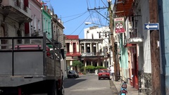 Traffic at at the intersection of  San Lazaro & Basarrata street. Havana, Cuba. Stock Footage