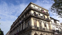 Colonial dwelling house at the Paseo del Prado. Central Havana, Cuba Stock Footage