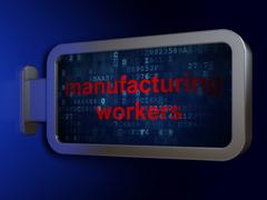 Manufacuring concept: Manufacturing Workers on billboard background Stock Illustration