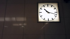 Clock at u-bahn underground subway station, Berlin, Germany Stock Footage