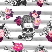 Spring mood. Seamless background with the skulls and roses Stock Illustration