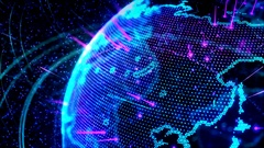 3d animation of a growing network across the world - blue version Stock Footage