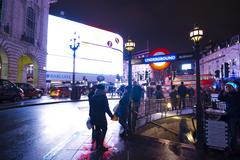 Piccadilly Circus London at night Stock Photos