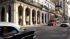 Road traffic at the Paseo del Prado. Central Havana, Cuba Stock Footage