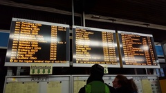 Electronic arrival departure board destinations, Berlin central bus station Stock Footage