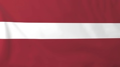 Flag of Latvia waving in the wind, seemless loop animation Stock Footage