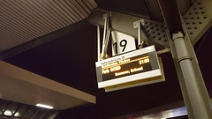 Electronic departure sign board, bus to Paris, Berlin central bus station Stock Footage