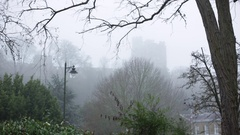 Very thick fog on Windsor Castle in England Stock Footage
