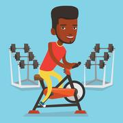 Man riding stationary bicycle vector illustration Stock Illustration
