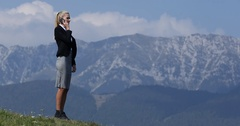Caucasian Businesswoman Talking Mobile Phone Teamwork Beautiful Nature Mountain Stock Footage