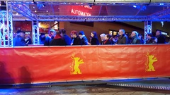 Guests in ticket line at Berlinale film festival closing ceremony entrance Stock Footage