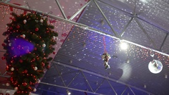 Silver Disco Ball Spinning In Nightclub christmas Stock Footage