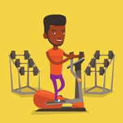 Man exercising on elliptical trainer Stock Illustration