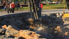Excavation, shoring and soil disposal. Close Up Stock Footage