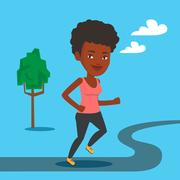 Young woman running vector illustration Piirros