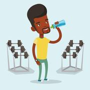 Sportive man drinking water vector illustration Stock Illustration