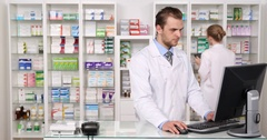 Pharmacists Group Checking Inventory Drugs Pharmacy Shop Teamwork Collaboration Stock Footage