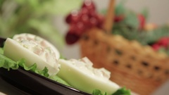 Stuffed eggs with ham, bell pepper and green onion Stock Footage