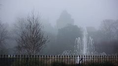 Windsor Castle in the thick white fog in England Stock Footage
