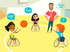 Handicapped Kids in wheelchairs playing baseball in a gym. Stock Illustration