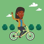 Woman riding bicycle vector illustration Stock Illustration