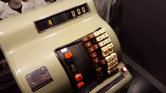 Old vintage cash machine register, GDR, DDR, East Germany, Berlin Stock Footage