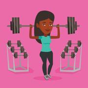 Woman lifting barbell vector illustration Stock Illustration