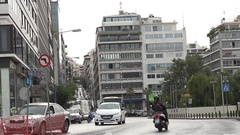 4K Traffic car on suburban area of Athens crowded downtown public transport day Stock Footage