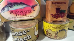 Communist East Germany canned food items on display, DDR, GDR Stock Footage