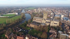 Aerial view of Worcester Cathedral, UK. Stock Footage