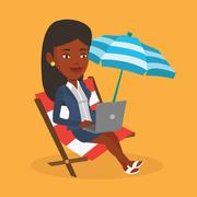 Businesswoman working on laptop at the beach Stock Illustration